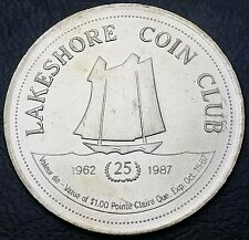 1962 - 1987 Lakeshore Coin Club, Pointe Claire, Quebec Trade Dollar, BU With COA