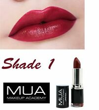 MUA Lipstick Shade 1 Burgandy Wine Long Lasting Deep Red Stick **UK SELLER**