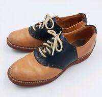 Boys/Kids Vintage Saddle Shoes Oxfords Size 3M Navy Blue Tan Charlie Browns