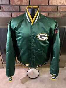 Vintage Starter Green Bay Packers NFL Football Satin Snap Jacket Mens Size Large