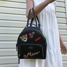 New Kate Spade Leopard Tomi Small Backpack Purse Black