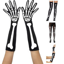 Halloween Sexy Fancy Costume Skeleton Ghost Claw Gloves Stockings Knee Socks AU