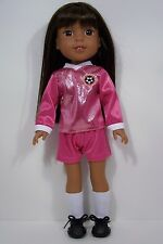 2pc PINK Soccer Uniform Doll Clothes For 14 American Girl Wellie Wishers (Debs)