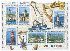 Bloc de 6 timbres français sur les phares, non oblitérés