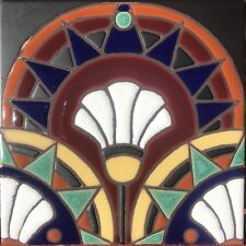 Hand-Painted Art Deco Craftsman Tiles, Frost Resistant, Available in 6x6 & 5x5