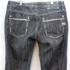 Womens Jeans Miss Me Size 29 Junior Black Distressed Stretch