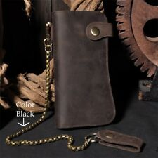 Men's Leather Bifold Card Holder Checkbook Trucker Biker Long Wallet Iron Chain
