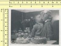 113 Kids Kiss Boy Girl Kissing Motion Abstract Surreal vintage photo original