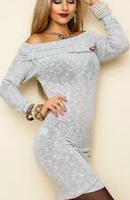 Sexy Damen Long Pulli Pullover Strick Carmen Mini Kleid 34/36/38 Brosche grau