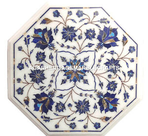 Marble Side Table Top Mosaic Lapis Floral Arts Inlaid Work Outdoor Decor H1979