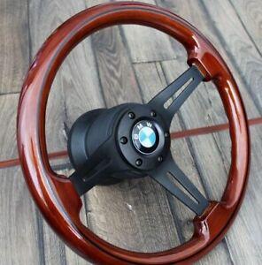 Steering Wheel BMW Wood Black Spokes E24 E28 E30 E32 E34 Wooden 1985-1991