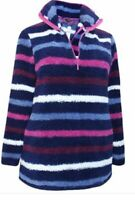 Ladies Ex Yours Striped Teddy Fleece Top Jacket Half Zip Jumper Plus Size