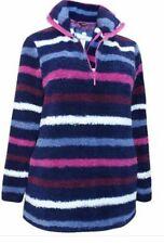 Ladies Ex Yours Striped Teddy Fleece Top Jacket Half Zip Jumper Plus Size