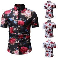 Men Floral Short Sleeve Blouse Holiday Beach Shirts Hawaiian Tops Shirt T