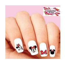Waterslide Nail Decals Set of 20 - Minnie Mouse with Red Bow Assorted