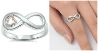 Sterling Silver 925 INFINITY LOVE KNOT W/ HEART DESIGN PROMISE RING SIZES 4-10