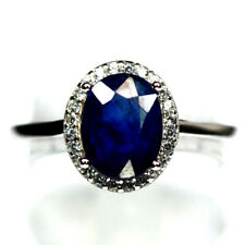 NATURAL BLUE SAPPHIRE & WHITE CZ RING 925 STERLING SILVER SIZE8
