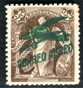 URUGUAY Early Air Mail 25c Stamp Overprint(1921) Mint MM ex Collection GGREEN103