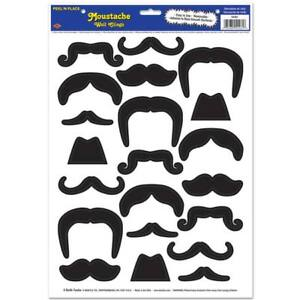 Black Mustaches Peel N Place 21 Per Sheet Pack Wall Cling Mustache