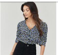 Michelle Keegan Puff Sleeve Printed Shirt Size 8 Rrp £30