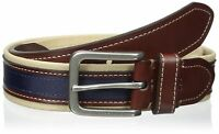 Tommy Hilfiger Men's Canvas Leather Casual Belt Khaki Brown Navy
