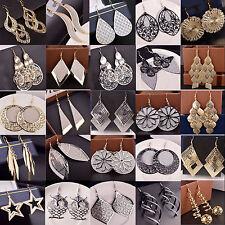 Damen 925 Silber Ohrringe Ohrhänger vergoldet Durchzieher Lange gemusterte Gold