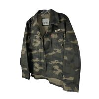 Levis Womens Green Camo Embellished Shirt Jacket Camouflage Button Down Small
