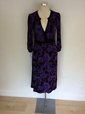 MONSOON BLACK & PURPLE PRINT STRETCH JERSEY 3/4 SLEEVE DRESS SIZE 8