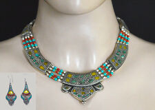 Ethnic Tibetan Beautiful Sterling Silver Necklace set Turquoise Amber Coral Set5