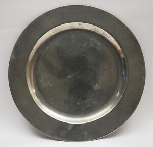 ANTIQUE ENGLISH PEWTER 9in PLAIN RIM PLATE BY JOHN WILLIAMS, FALMOUTH 1737-1761.
