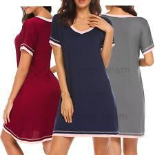 Womens Cotton Sleepwear Pajama Nightgowns Nightshirt Sleepdress Loungewear S-XXL