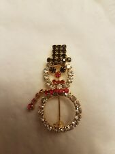 Vintage Jewelry Holiday Christmas Snowman Crystal Clear, Red, Black Brooch Pin