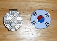 "Korea Flag golf ball marker 1"" with Hat Clip"
