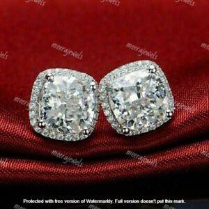 4Ct Cushion Cut VVS1/D Diamond Halo Push Back Stud Earrings 14K White Gold Over