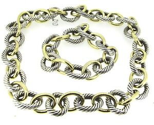 David Yurman 18k Yellow Gold & Sterling Silver Oval Cable Link Chain & Bracelet