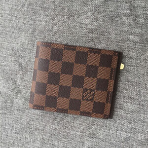 Preowned Louis Vuitton Men's Genuine Leather Canvas ID Credit Card Wallet Brown