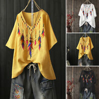 UK Women Summer Floral Embroidered Casual Tops Ladies Loose Blouse Tunic T-Shirt