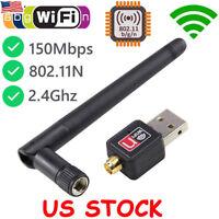150Mbps 802.11b/g/n USB WIFI Wireless LAN Adapter High Long Range 2dBi Antenna