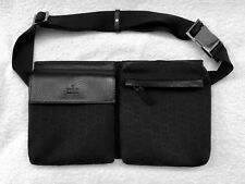 Auth.  GUCCI  GG 28566  Black Leather & Jacquard  Bum Bag / Waist Pouch - NEW