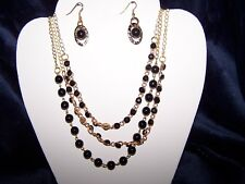 Midnight Black Beaded Necklace &   Earring set