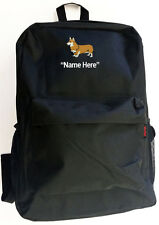 WELSH CORGI Dog and Personal Name Embroidered Monogrammed Stitched Backpack