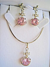Necklace Chain with Pink  Pendant and Earrings Set