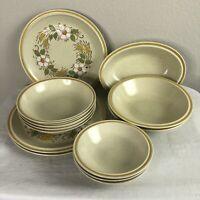 Hearthside Garden Festival Dinner Set Plates Bowls Hand Painted Stoneware Japan