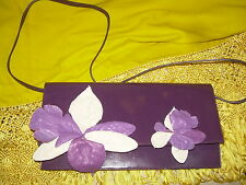 MIU MIU DREAM CLUTCH PURPLE ALL LEATHER PRE-OWNED NEVER WORN HANDBAG 121/2 ""