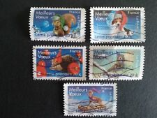 COLLECTION COMPLETE 5 TIMBRES MEILLEURS VOEUX 2008 FRANCE