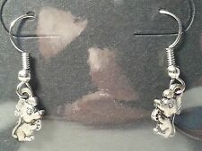 Handmade Silver Tone Mouse & Cheese Drop Style Hook Fashion Earrings - Jewelry
