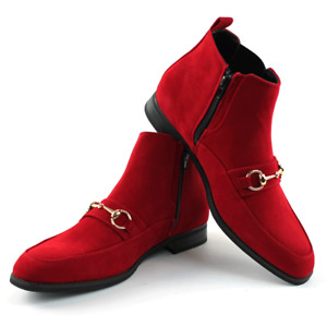 Men's Chelsea Ankle Boots Red Suede With Gold Buckle Zipper Closure By AZAR MAN