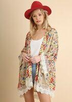 Umgee Floral Crochet Lace Trim Open Front Kimono Cardigan Size M/L Medium Large