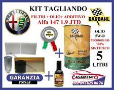 KIT TAGLIANDO FILTRI + OLIO BARDAHL 5W40 5LT + ADDITIVO ALFA 147 1.9 JTD