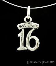 .925 Solid Sterling Silver SWEET 16 HAPPY BIRTHDAY Celebration Bracelet Charm